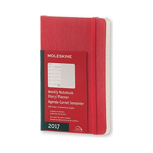 Moleskine 2017 Weekly Notebook, 12M, Pocket, Scarlet Red, Soft Cover (3.5 x 5.5)