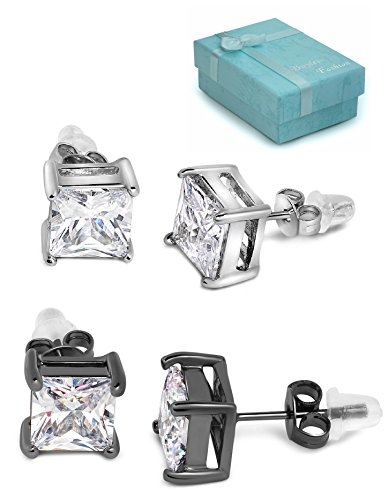 Buyless Fashion Surgical Steel 2 Pair Pack White White And Black White Square CZ Earrings Additional Push Back In Gift Box-4X4 White-W/Black (Wire Square Earrings)