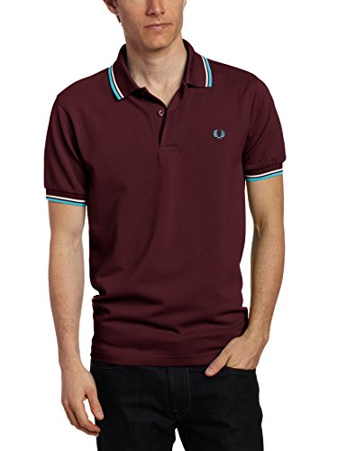 Fred Perry Men's Twin Tipped Polo Shirt, B Mahogany/White/Capri, X-Small