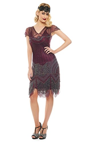 [Beatrice Vintage Inspired Fringe Flapper Dress in Purple Plum (US 14)] (Gatsby Dress Cheap)