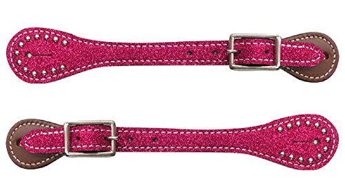 Showman YOUTH Kids Girls PINK Glitter Overlay Barrel Racing Studded Leather Spur Straps ()
