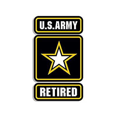 American Vinyl US Army Star Logo w/Retired Sticker (Military Soldier Vet Insignia Seal): Automotive