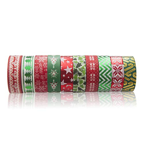 Piokio 10 Rolls Christmas Washi Masking Tape Set Decorative Foil Holiday Tape for Xmas Wall Tree DIY, Scrapbooking, Craft Projects and Gift Wrapping, Total 330 Feet (Duct Gifts Christmas Tape Diy)