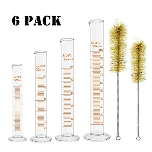 WeiMeet 4 Pieces Measuring Cylinders Thick Glass Graduated Cylinders with 2 Pieces Cleaning Tube Brushes for School Science Lab Home