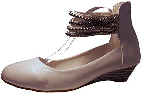 Sandalias mujer, tacones altos, rosa, negro, blanco, beige, marrón, gris, leopardo, modello 11064105008251, zapatos de mujer, diferentes modelos y tamaños. Blanco - Weiß.