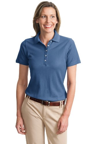 Port Authority Ladies Cotton Pique Knit Sport Shirt, 4XL, Moonlight Blue