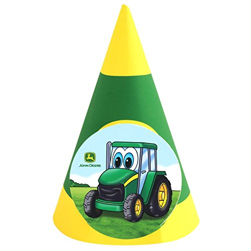 BirthdayExpress Johnny Tractor Cone Hats (John Deere Hats Party)