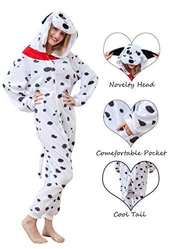 Olivia Coral Dalmatian Pyjamas Unisex Adult Christmas Halloween Costume Loose Animal Sleepwear Cosplay Party Costume for $<!--$21.99-->