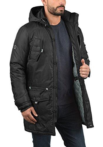 Pour Betto Fur Homme D'hiver Veste Parka solid Black Avec À Faux Capuche Manteau Longue 9000 Ppxwqxda