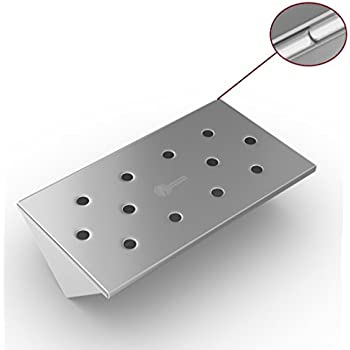 V Shaped Smoker Box Small - 25% THICKER STAINLESS STEEL WON'T WARP - Wood Chips for Smoking Meat on Gas & Propane BBQ Grills - Fits Between Flavorizer Bars & Hinged Lid for Easy Access - Cave Tools