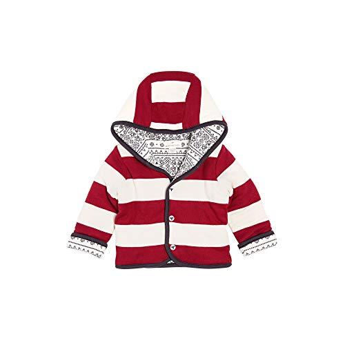 Burt's Bees Baby Baby Jacket, Hooded Coat, 100% Organic Cotton, Cranberry Fair Isle Reversible, 12 -