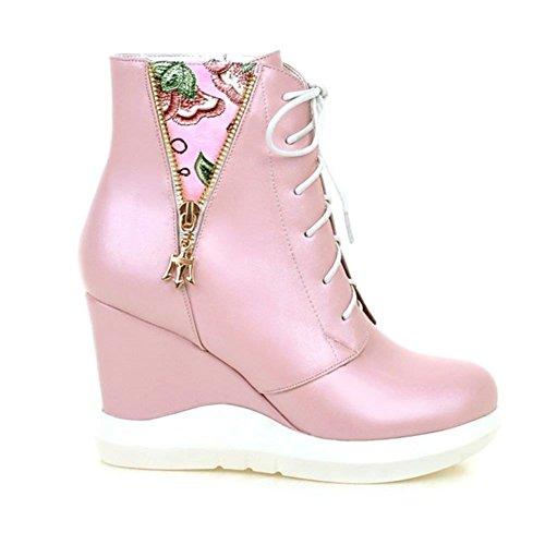 DecoStain Women's PU Mixed-Color Wedge Heel Winter High Top Boots Ladies Ankle Sneaker Army Biker New Size UK Pink x4yNBE