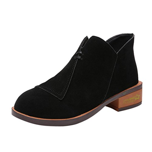Women Ladies Autumn Shoes Ankle Solid Roman Martin Short Boots Single Shoes Elasticated Tab Low Block Flat Heel & Rounded Toe School Work Black IDCozwPQ0x