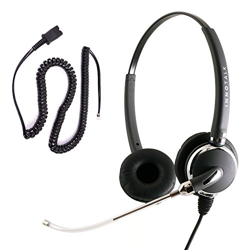 Cisco 8811 8841 8851 8861 8865 8941 8945 8961 Noise Cancel Phone Headset - Voice Tube Pro Binaural Headset + Cisco Headset Adapter as Call Center by InnoTalk