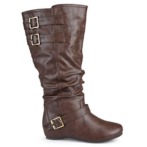 Brinley Co Women's Cammie-wc Slouch Boot, Brown Wide Calf, 10 M US (Brinley Co Wide Calf Boots Slouch)
