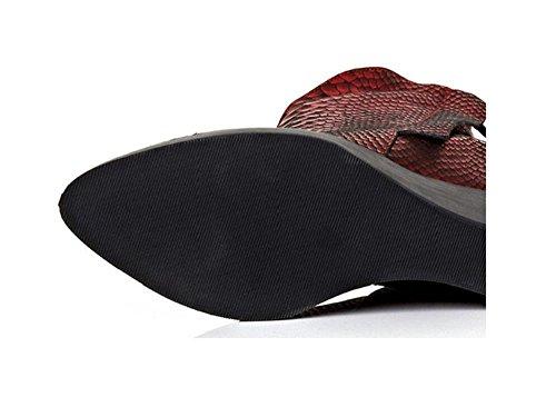 aumentato velluto Personalità 37 genuino da Gray 37 modello serpentina cerniera caviglia in pendio con RED stivali doppia Plus scarpe donna pelle xaR0Fq