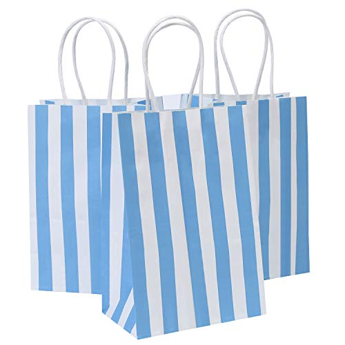 Road 5.25x3.25x8 Inches 50pcs Blue Stripes Kraft Paper Bags, Small Shopping Bag, Retail bag, Craft Paper Bag, Gift Bag by Road