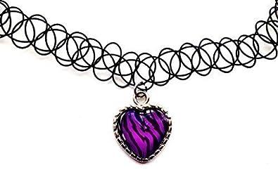 Live It Style It Zebra Print Purple Heart Tattoo Choker Charm
