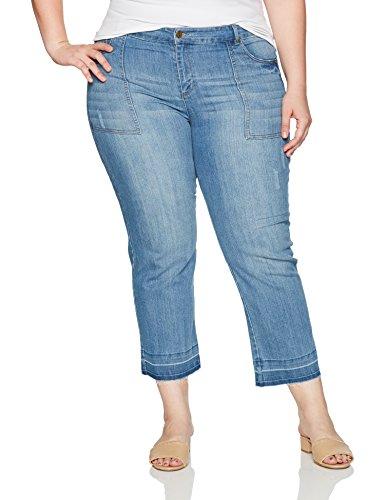 Jones New York Women's Plus Size Hem Cropped Bell Leg with Patch Pocket, Stevie Wash, (Jones Wear Jeans)