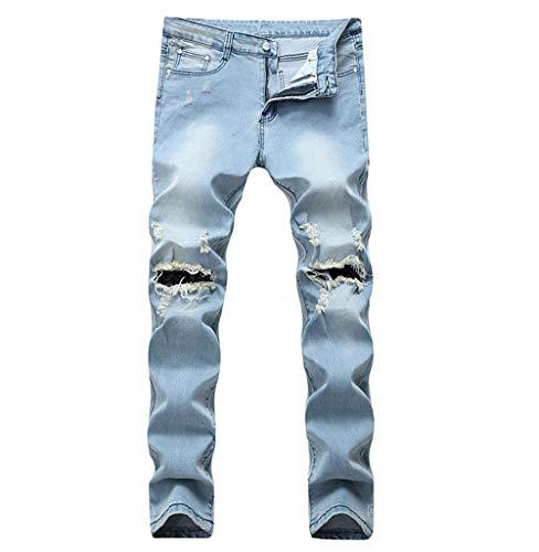Distrutti Bt Uomo Blau Con Slim A Jeans Strappata Da Pantaloni Classiche Tinta Unita Ragazzi Buchi Matita Chern Dritti SqtPg1wn