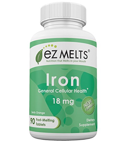 EZ Melts Iron, 18 mg Carbonyl Elemental Iron, Fast Melting Tablets, Cellular Health Vitamin Supplement