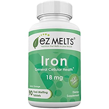 EZ Melts Iron, 18 mg, Dissolving Vitamins, Zero Sugar, Natural Orange Flavor, 90 Fast Melting Tablets, Carbonyl Elemental Iron Supplement
