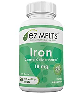 EZ Melts Iron, 18 mg, Dissolvable Vitamins, Vegan, Zero Sugar, Natural Orange Flavor, 90 Fast Melting Tablets, Carbonyl Elemental Iron Supplement