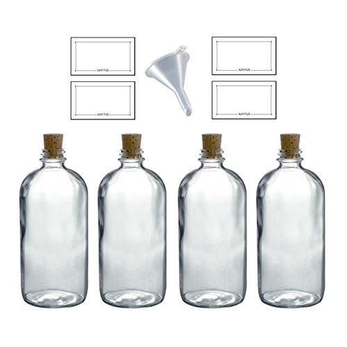 16 oz Clear Glass Boston Round Bottle with Cork Stopper Closure (4 Pack) + Funnel and ()
