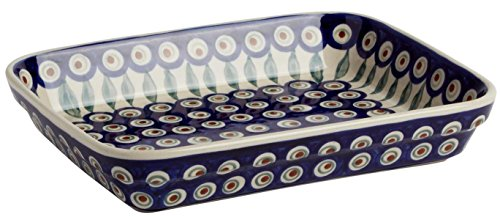 """Polish Pottery Peacock Feathers Blue Floral Baking or Serving Dish, 10""""L x 8""""W x 1.75""""H (30-oz. Capacity) by Ceramika Boleslawiec Polish Pottery"""