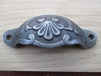 Cast Iron Antique Shell Cup Fancy Pull Cabinet Cupboard Drawer Door Pull Handles