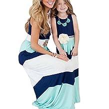 Mother and Daughter Matching Stripe Stitching Boho Long Maxi Dress
