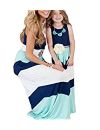 Mother and Daughter Matching Stripe Stitching Boho Long Maxi Dress