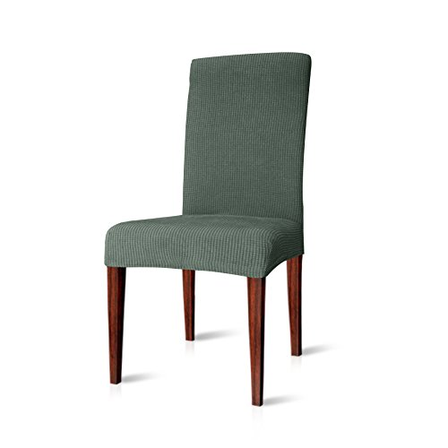 CHUN YI Jacquard Polyester and Spandex Chair Covers for Dining Room(4, Dark Cyan)