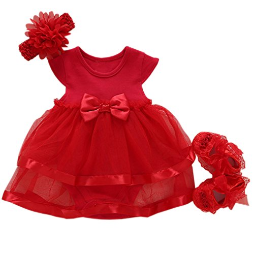 Niyage Baby Girls Clothes Dress Headband Shoes 3 Pcs Set Flowers Party Outfit Romper Dress-Red 9-12 Months -