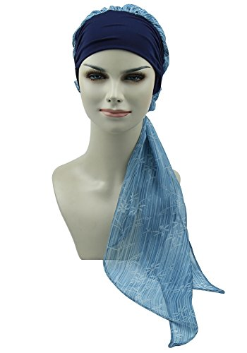 Scarf Tied Fashion (Black White Chemo Turbans Headwear Scarfs Pre-tied Head Wraps Cap)