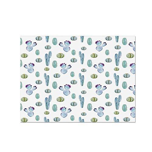 Botanic Blue Placemats - C COABALLA Cactus Decor Heat Resistant Table Mat,Blue Botanic Desert Flowers with Spikes Pattern Types of Desert Cactus Art Decor for Dining,15.7