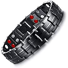 Hottime Double Row 4 IN 1 Bio Elements Energy Titanium Steel Magnetic Therapy Bracelet