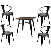 Buffalo BSSET31 AmeriHome Loft Glossy Black Dining Set with Wood Tops, 5 Piece