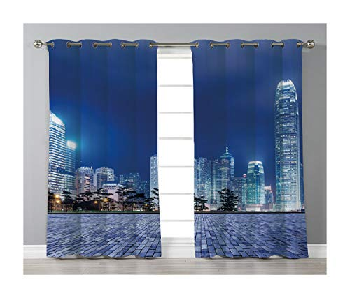 (Goods247 Blackout Curtains,Grommets Panels Printed Curtains for Living Room (Set of 2 Panels,55 by 84 Inch Length),Urban)
