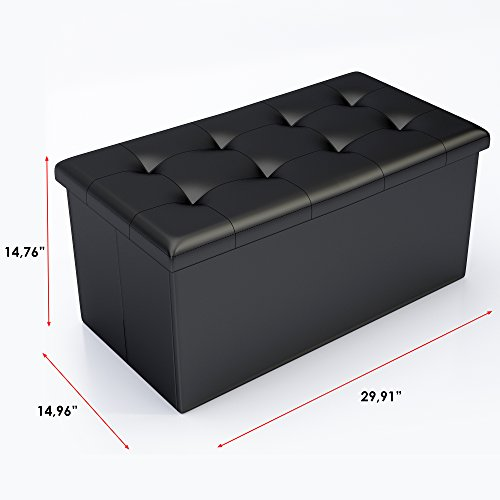 Kids Collapsible Ottoman Toy Books Box Storage Seat Chest: Black Faux Leather Ottoman Storage Bench -Great As A