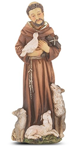 Catholic Hand Painted Resin Patron Saint Francis of Assisi Statue with Prayer Card, 4 inch by Patron Saint Statue