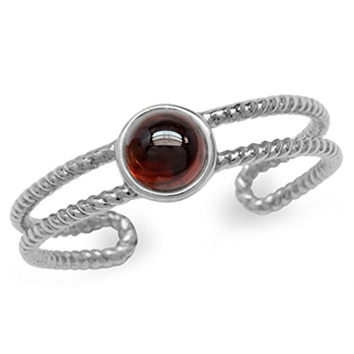 - Cabochon Garnet White Gold Plated 925 Sterling Silver Rope Solitaire Adjustable Ring Size 7