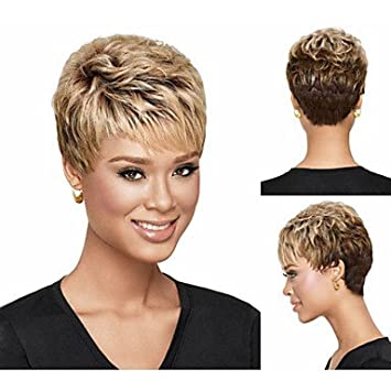 Hjl Pixie Cut Synthetische Perücken Kurze Gewellte Haare Blonde