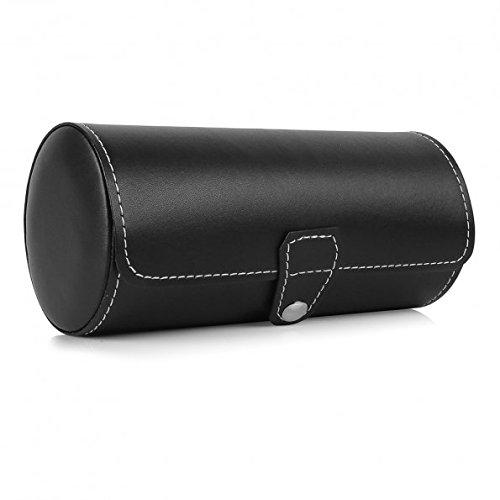 Rollo de piel sintético de viajero reloj de almacenamiento organizador para 3reloj y/o pulseras (negro)