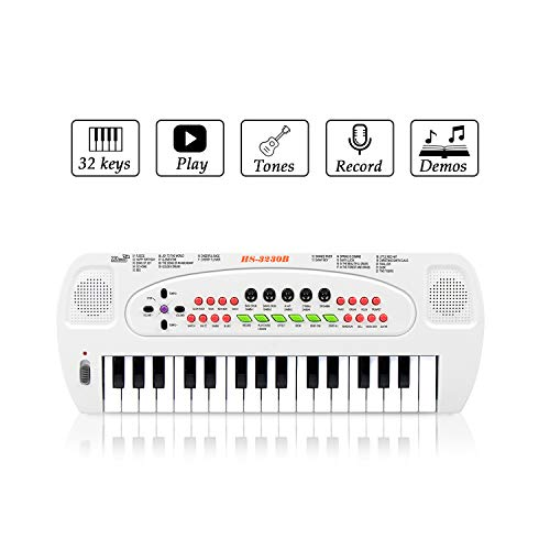 JINRUCHE Piano Keyboard Toy for Kids 32 Keys Multifunctional Toy Piano with Microphone for Baby Birthday Gift Toy for 2-6 Year Old Toddlers (White)