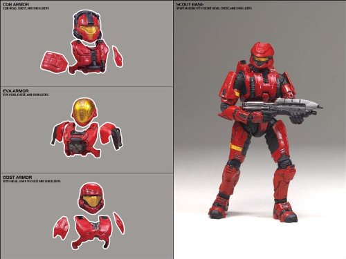 Halo 2009 McFarlane Toys Deluxe Action Figure Boxed Set Red Scout Armor Pack (Red ODST, EVA and CQB Armors)