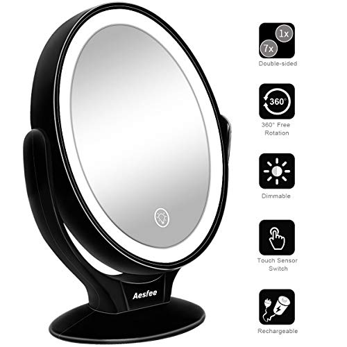 Double Sided LED Makeup Mirror with Lights, Lighted Makeup Vanity Mirror 1x/7x Magnification 360 Degree Rotatable with Touch Screen Dimming, Portable USB Chargeable Cosmetic Magnifying Mirrors (Black) ()