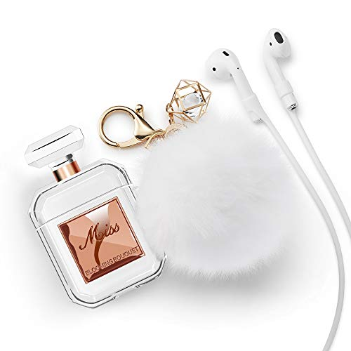 Lastma Cute AirPods Case Perfume Bottle with Keychain Silicone AirPod Case Cover for Apple AirPods 2 and 1 Design for Girls and Women - Rose Gold