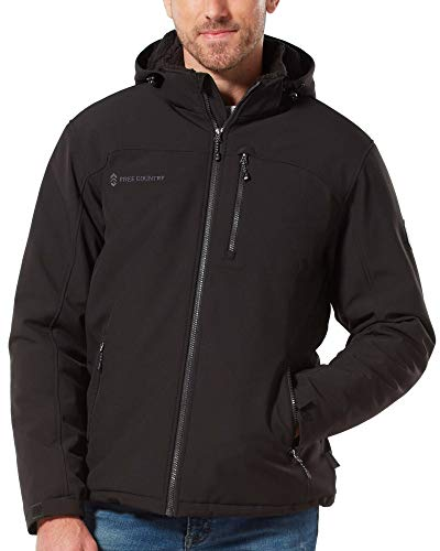 Free Country Mens Extra Mile Mid Weight Softshell Jacket (Black, X-Large)