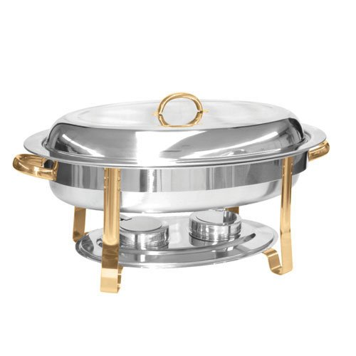 6 Quart Stainless Steel Chafer Set Mirror Finished w/Gold Accent Handles (Oval Chafer)